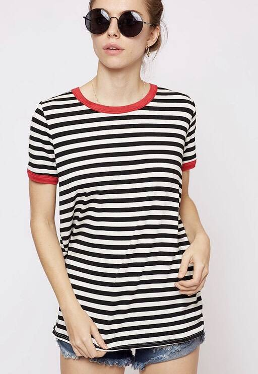Black Striped Top with Red Contrast