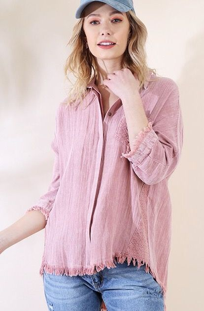 Blush 3/4 Sleeve Mineral Washed Button Up Top with Frayed Hem