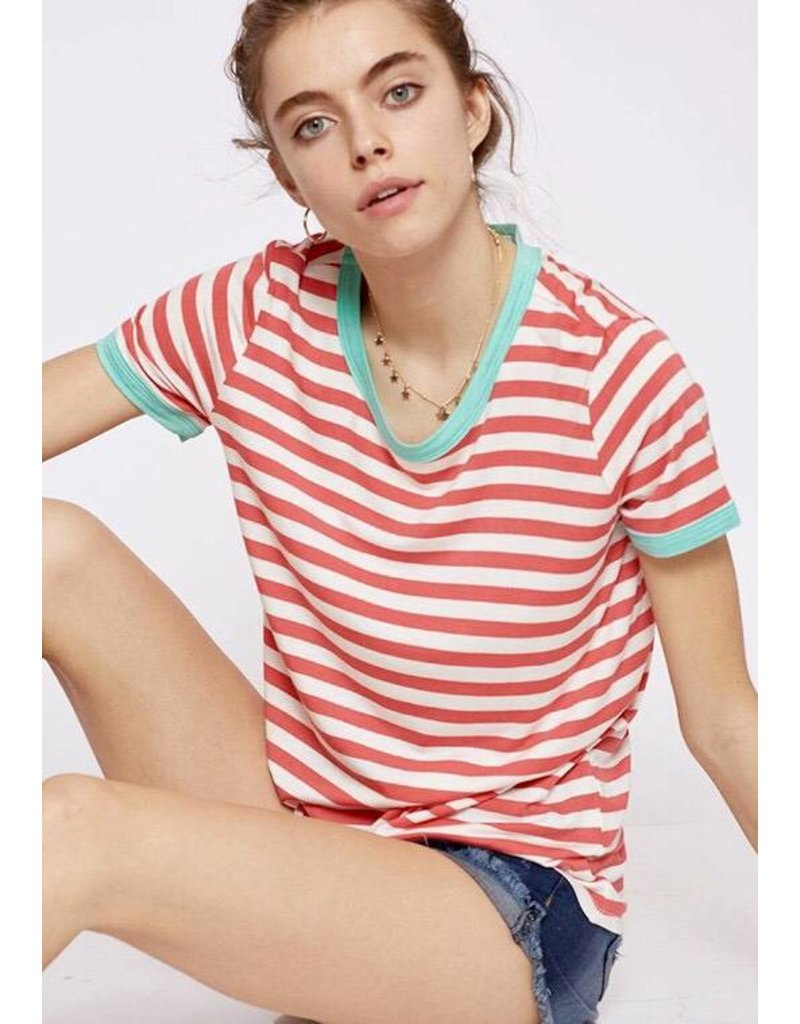 Coral Striped Top with Mint Contrast -  Sale Item
