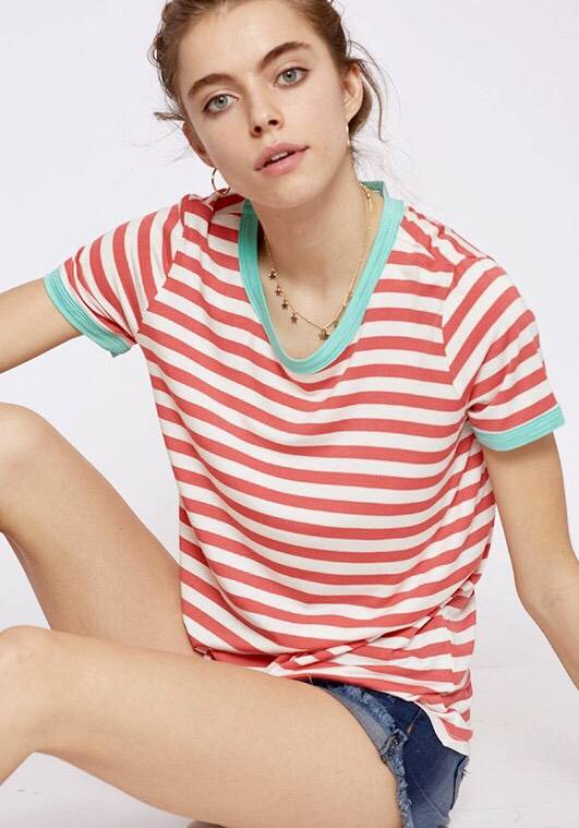 Coral Striped Top with Mint Contrast