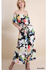 Lillie's Black / Floral Mix Off Shoulder Ruffle Dress