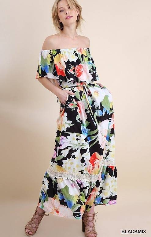 Lillie's Black / Floral Mix Off Shoulder Ruffle Dress