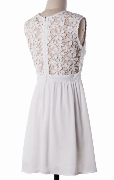Off White Floral Crochet Dress