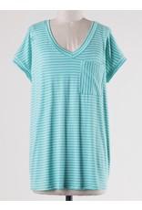 Bright Mint Striped V-Neck Top