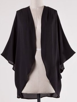 Black Semi-Sheer Open Front Kimono