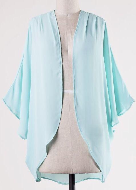 Lillie's Light Teal Open Front Kimono