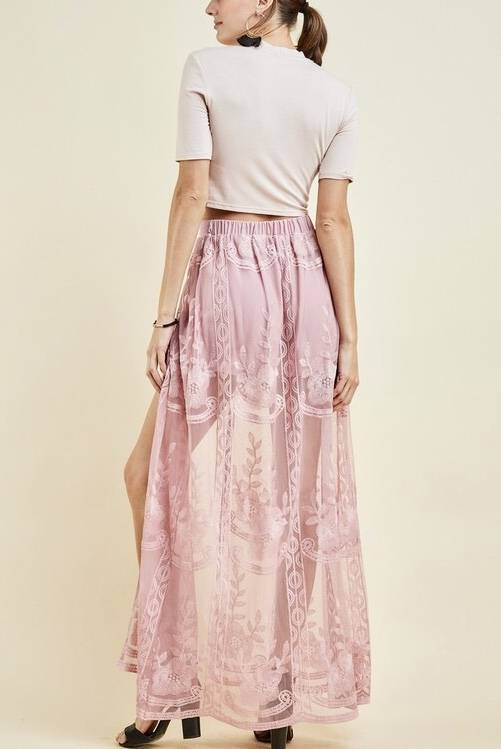 Mauve Skirt with Mesh Floral Tail