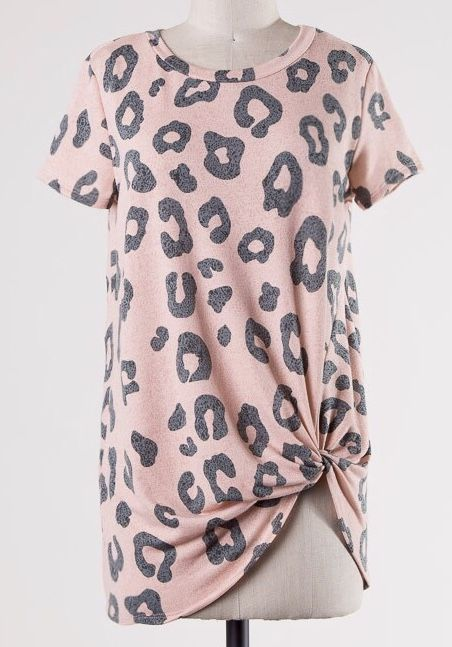 Dusty Pink Leopard Knotted Top