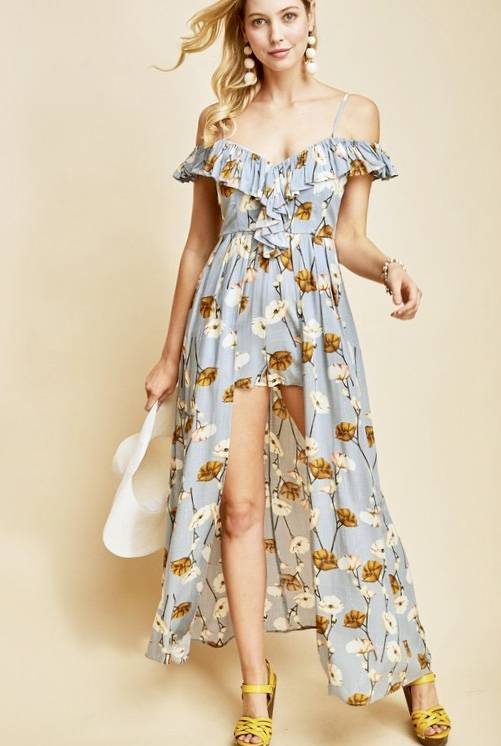 Dusty Blue Floral Maxi Romper