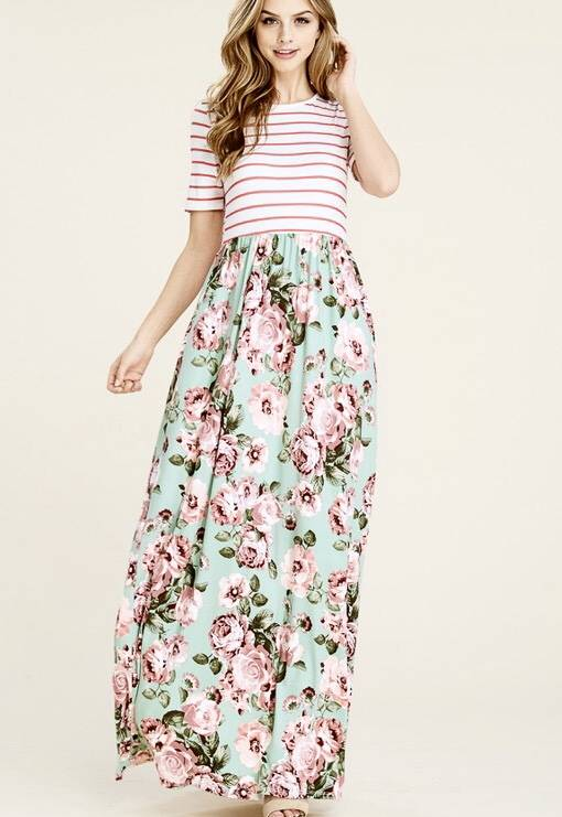 Lillie's Mint Floral Maxi Dress with Striped Contrast