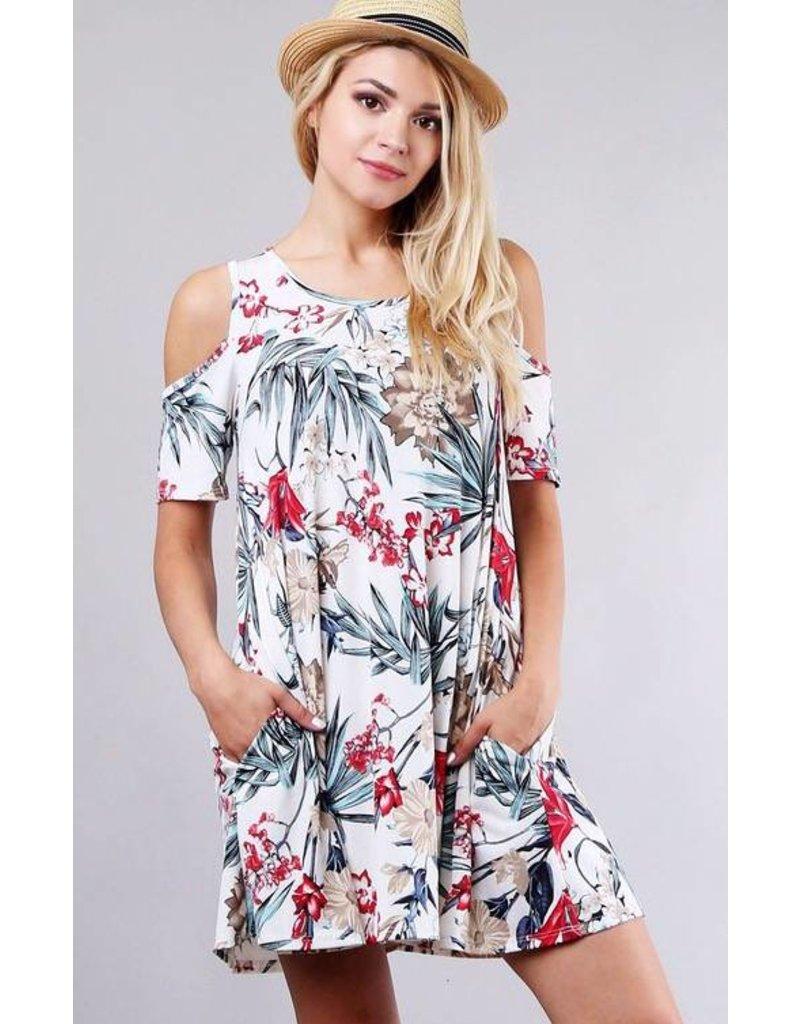 Ivory Open Shoulder Floral Print Dress