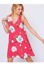 Fuchsia V-Neck Floral Dress