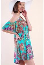 Lillie's Blue Floral Mix Cold Shoulder Dress