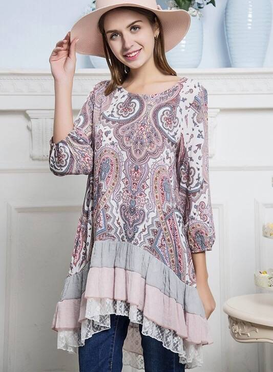Multi Pink Lace Tunic with Layer Ruffle Detail