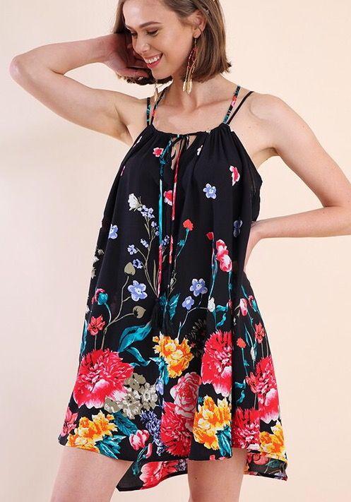 Lillie's Black Floral V-Neck Criss Cross Sleeveless Top