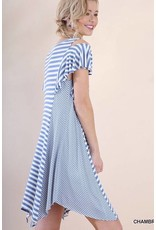 Lillie's Faded Blue Striped Cold Shoulder V-Neck Dress- SALE ITEM