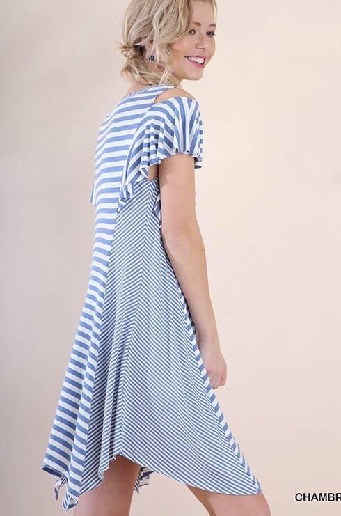 Lillie's Faded Blue Striped Cold Shoulder V-Neck Dress