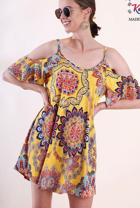 Lillie's Yellow Floral Cold Shoulder Frill Top