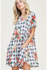Black Plaid Floral Spring Dress