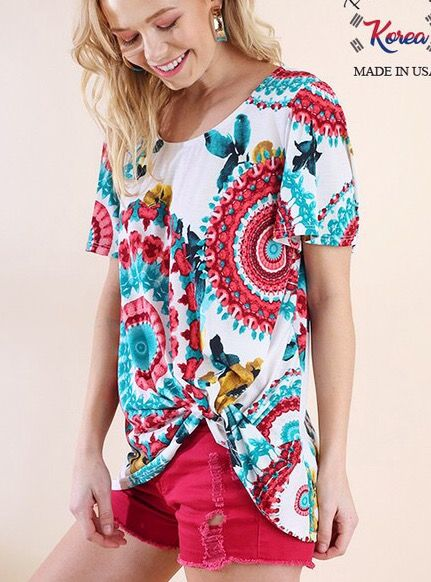 Lillie's White Floral Mix Knotted Top