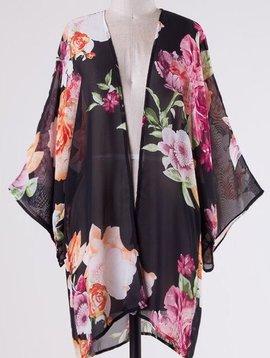 Lillie's Black Floral Semi-Sheer Open Front Kimono