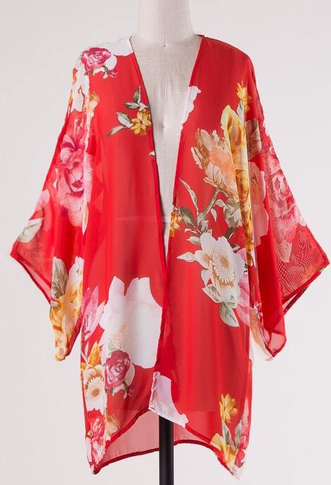 Lillie's Red Floral Semi-Sheer Open Front Kimono