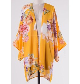 Lillie's Yellow Floral Light-Weight Open Front Kimono