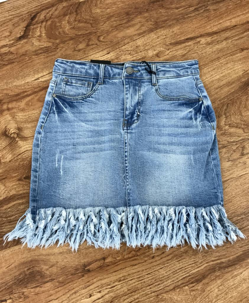 Light Wash Denim Button Down Skirt with Fray