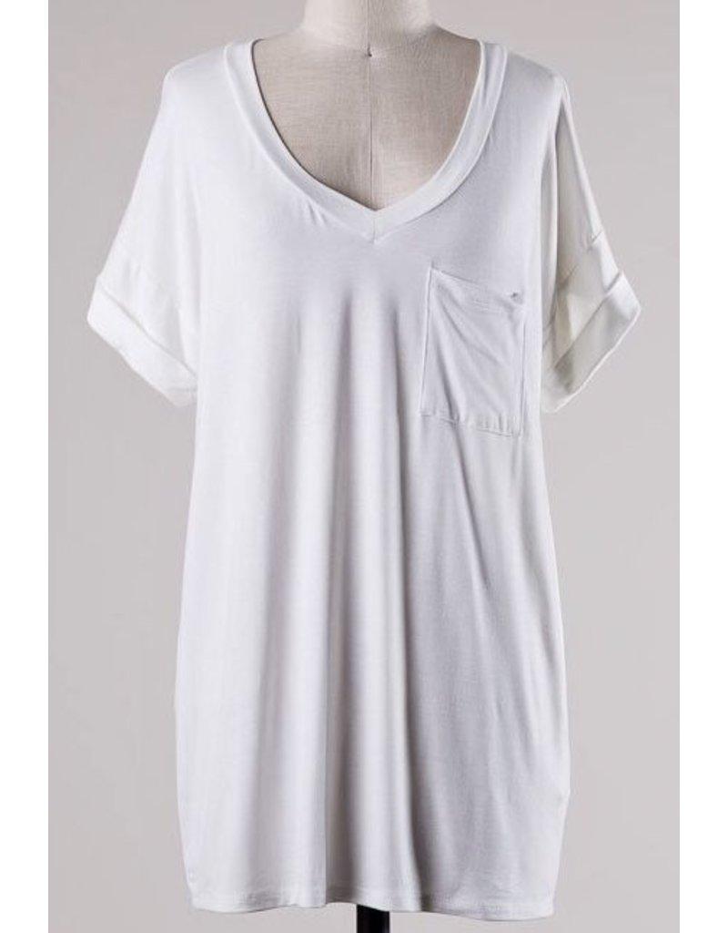 Ivory Solid Roll Up Short Sleeve V-Neck Top