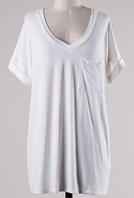 Ivory Solid Roll Up Short Sleeve V-Neck Top