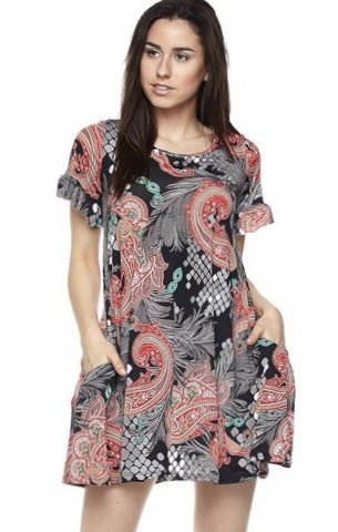 Black Paisley/Peacock Feather Tunic