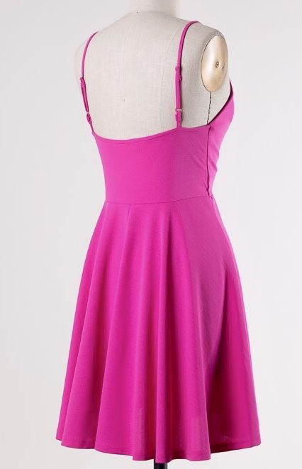 Bubble Pink V-Cut Dress with Swing Skirt