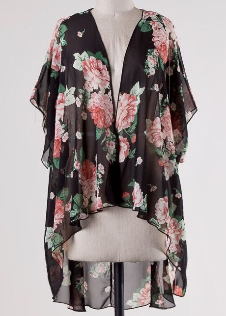 Black Sheer Floral Kimono with Wide Sleeve- SALE ITEM