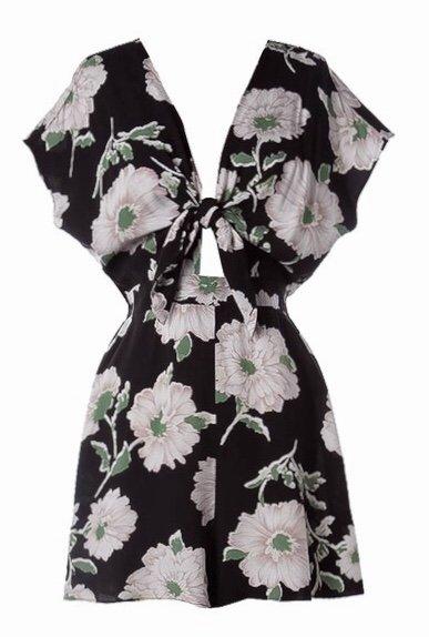 Lillie's Black Floral V-Neck Keyhole Knotted Romper