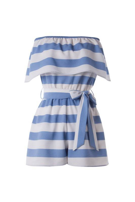 Light Blue Layered Stripe Print Romper