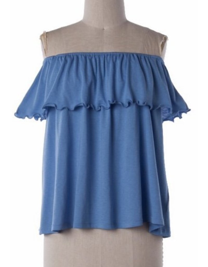 Blue Off Shoulder Ruffle Layer Top
