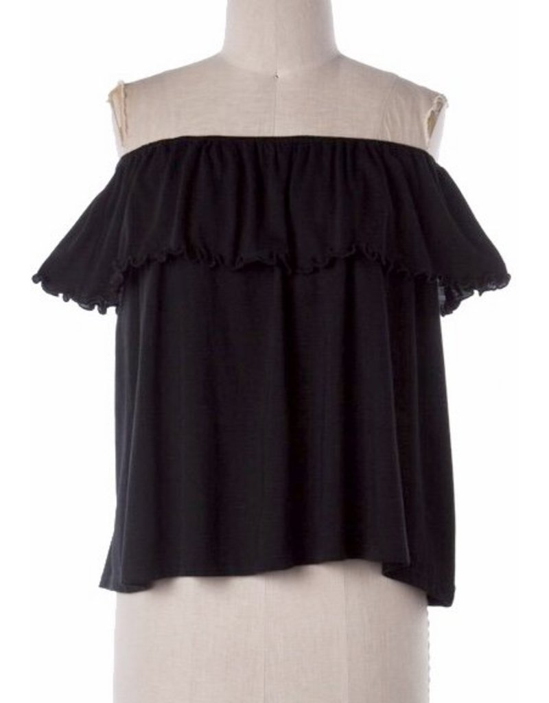 Black Off Shoulder Ruffle Layer Top