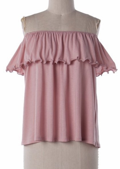 Dusty Pink Off Shoulder Ruffle Layer Top