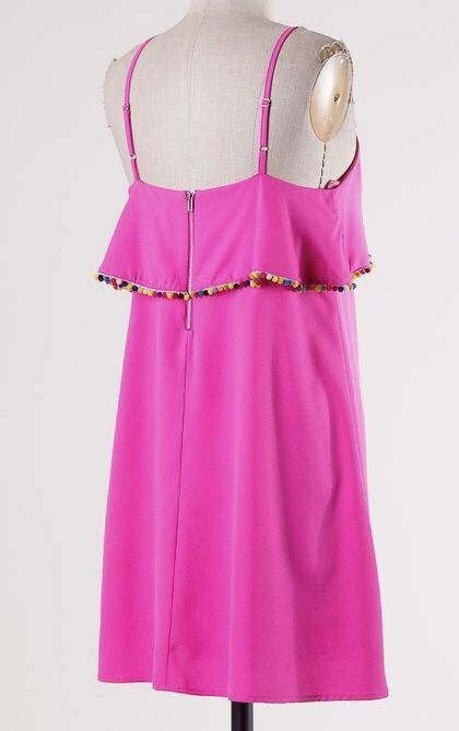 Lillie's Pink Sleeveless Ruffle Pom Pom Trim Dress