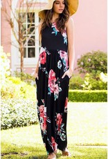 Lillie's Black Pink Mix Floral Maxi Dresss