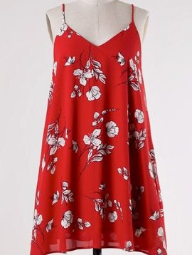 Red Floral Spaghetti Strap Dress