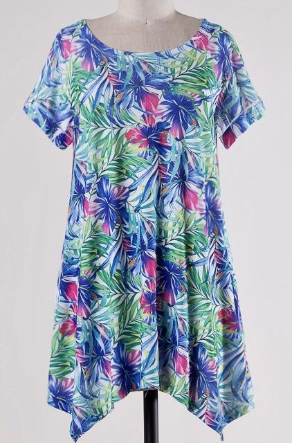 Blue/Green Tropical Sublimation Top