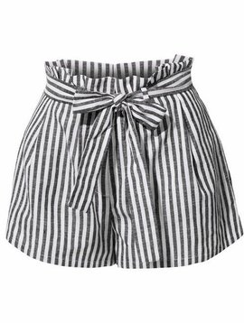 Black Linen High Waisted Striped Shorts with Belt