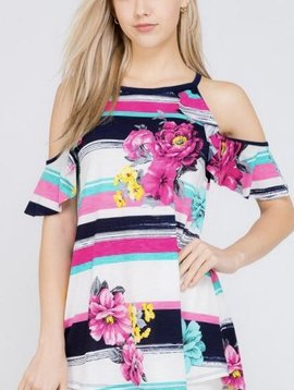 Navy Floral/Striped Ruffle Cold Shoulder Top
