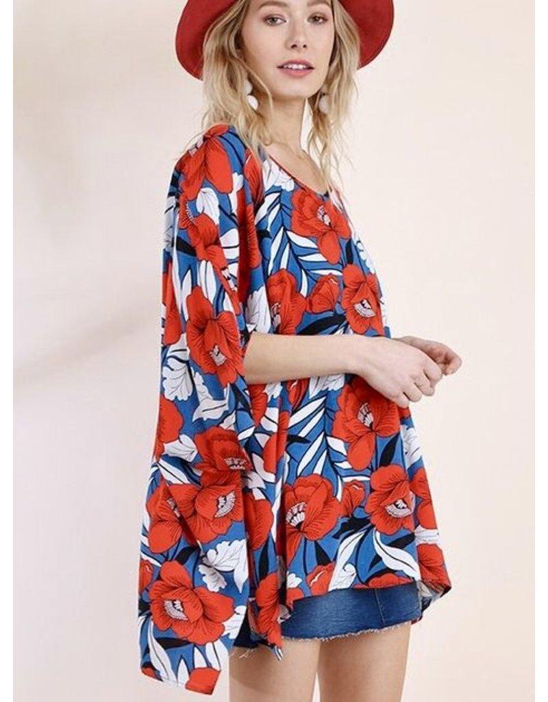 Blue / Red & White Floral V-Neck Lounge Top