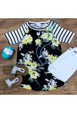 Black/Yellow Floral Top with Striped Short Sleeve- SALE ITEM