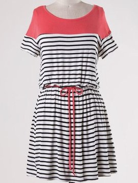 Lillie's Black / White Striped Tunic with Coral Contrast