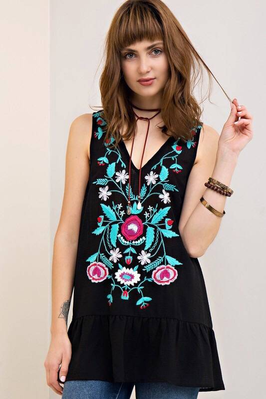 Black Sleeveless V-Neck Top with Floral Embroidery