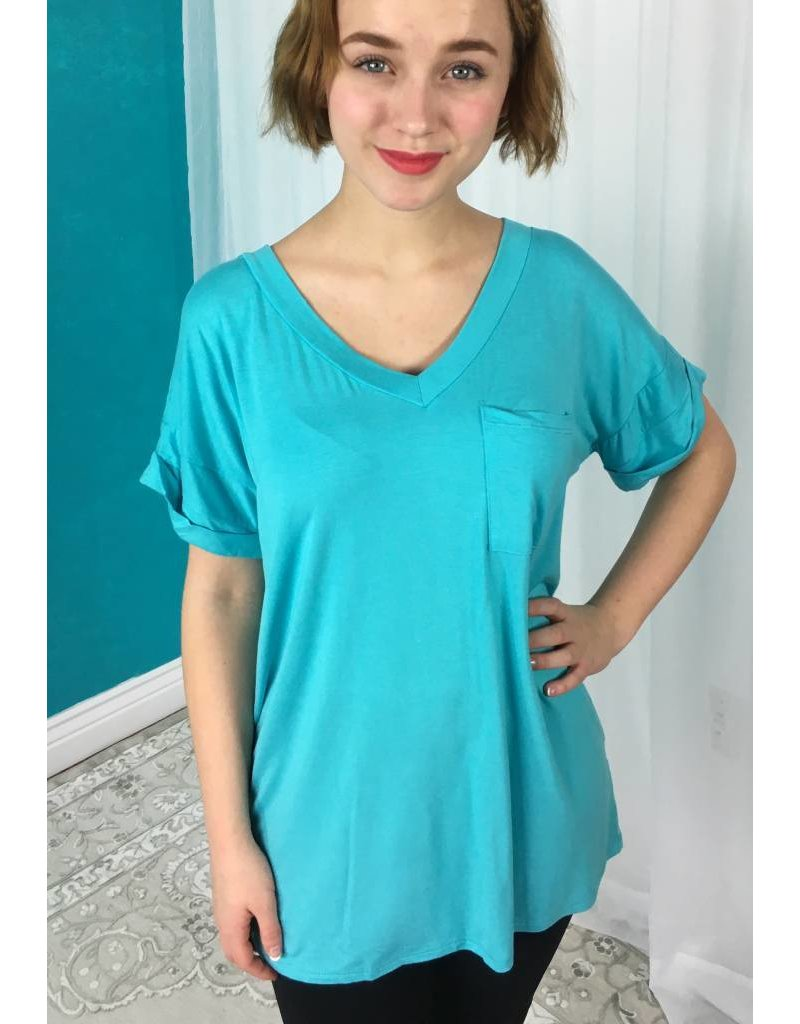 Blue Lagoon Solid Roll Up Short Sleeve V-Neck Top- SALE ITEM