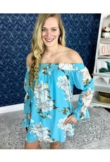 Aqua Floral Off Shoulder Dress- SALE ITEM